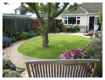 The same view after design, landscaping and planting. Design for small garden in Bedfordshire.