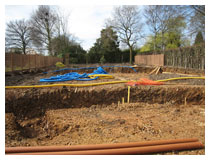 Landscaping – about to install footings and drainage.  Garden design and landscaping in Hertfordshire.